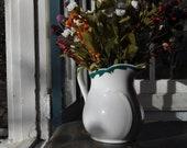 Vintage White And Dark Green Ironstone Pitcher Country Kitchen Flower Vase