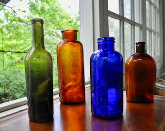 Four Assorted Vintage Bottles/Cobalt Green Amber/Collection of Vintage Apothecary Bottles