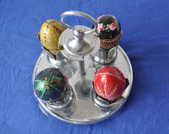 Vintage Chrome Egg Caddy/Complete with Egg Cups/Easter Egg Table Display