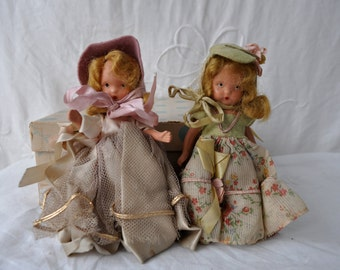 Nancy Ann Stoybook Dolls With Original Clothing/Vintage 1940s/Marked Story Book Collection USA