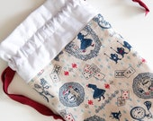 Alice in Wonderland Drawstring Knitting Project Bag, Lined Pouch, Recycled, Queen of Hearts, Cheshire Cat, Card Soldiers, Hobby, Travel, DIY