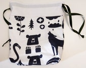 Bear Raccoon Knitting Crochet Sewing Project Bag Drawstring Pouch Alpaca Yarn Wool Medium Storage Needles Travel Lingerie Laundry Purse Tote