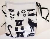Bear Raccoon Knitting Crochet Sewing Project Bag Drawstring Pouch Alpaca Yarn Wool Medium Storage Needles Travel Lingerie Laundry Purse Tote
