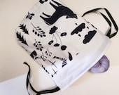 Jungle Wolf Knitting Crochet Sewing Project Bag Drawstring Pouch Raccoon Yarn Wool Medium Storage Needles Travel Lingerie Laundry Purse Tote