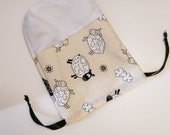 Sheep Knitting Project Bag Yarn Drawstring Lamb Wool Knit Tote Craft Crochet Notion Needles Gift Recycled Pouch Purse Travel Storage Vintage