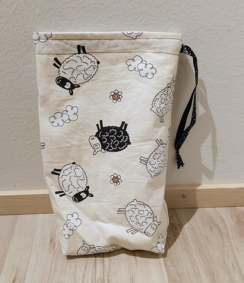 Sheep Knitting Project Bag Yarn Drawstring Lamb Wool Knit Tote image 1