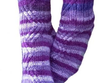 Cable Socks Knitting Pattern Warm Winter Wear Handmade Knit Cables Asymmetric Handmade Pair women