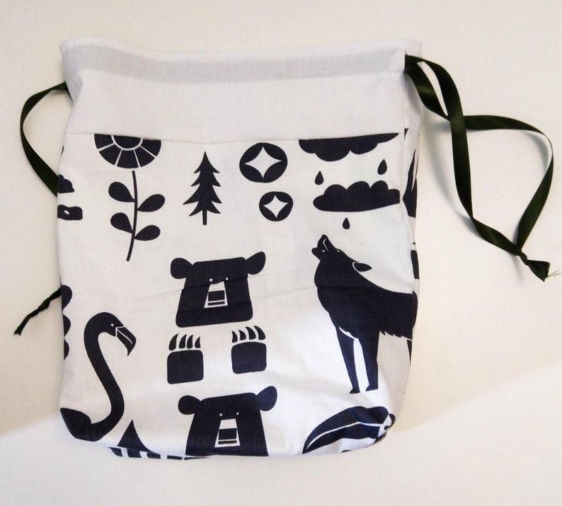 Bear Raccoon Knitting Crochet Sewing Project Bag Drawstring image 1