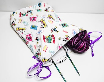 Drawstring Bag Craft Knitting Crochet Sewing Handmade Recycled Disny Mickey Mouse Minnie Goofy Miami USA Pouch Purse Travel Storage Vintage
