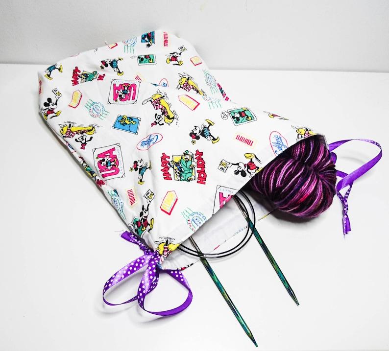 Drawstring Bag Craft Knitting Crochet Sewing Handmade Recycled  23325a5f99c61
