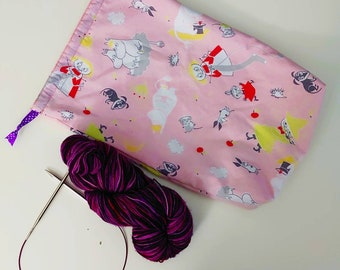 Moomin Knitting Crochet Sewing Project Bag Drawstring Pouch Cartoon DIY Medium Storage Makeup Travel Lingerie Laundry Shoe Purse Tote
