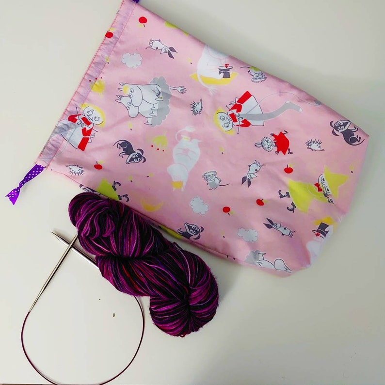 Moomin Knitting Crochet Sewing Project Bag Drawstring Pouch image 1