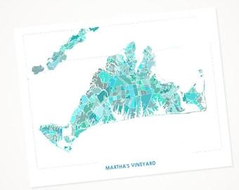 Juanitas Martha's Vineyard Map Print.  Choose the Colors and Size.  Massachusetts Coastal Wall Art.  Map of Marthas Vineyard.