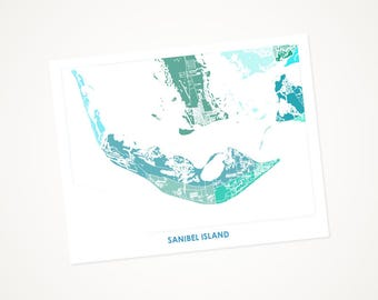 Sanibel Island Map Print.  Choose the Colors and Size.  Fun Florida Art. Perfect FL decor for your home or office.