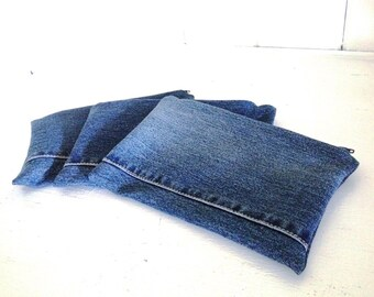 Upcycled Denim Small Zippered Pouch - Pens Pencils Cosmetics