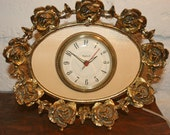 Vintage WORKING Stylebuilt Gold Ormolu Electric Clock Stands on Surface is Alarm Clock too