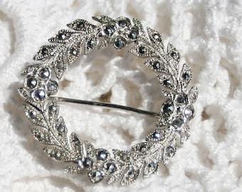 Vintage Sterling Silver Marcasite Wreath Brooch