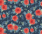 HEDGE ROSE - Main Rose in NAVY - Riley Blake - Penny Rose - Large Scale Floral - Red Roses - Reproduction - Floral Fabric - Choose Your Cut