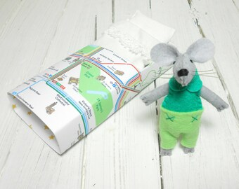 Mouse in a matchbox stuffed animal birthday kids gift felt mouse miniature animal london map aqua green woodland animals