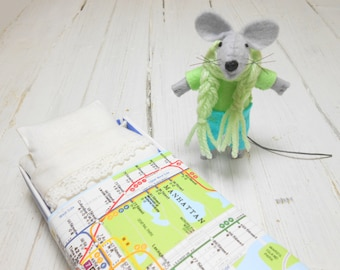 Gift for Kids Felt kit felt doll stuffed animals felt animals felt mouse light blue small mice in a matchbox manhattan map