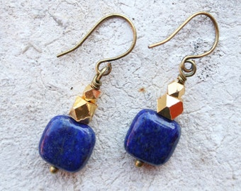 Lapis Lazuli Earrings, Lapis Lazuli Jewelry, Cobalt Blue Earrings, Boho Earrings, Natural Stone Earrings, Boho Jewelry, Gift For Her