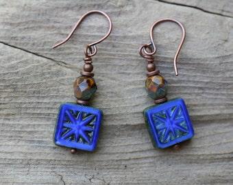 Cobalt Blue Earrings, Czech Glass Earrings, Boho Earrings, Rustic earrings, Tiny Earrings, Gift for Her, Boho Jewelry, Bohemian Earrings