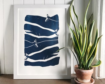 Hand printed wall art, Ready to frame whale print, 18x24 inches