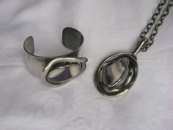 Modernist Agate Necklace and Bracelet, WA Danish D