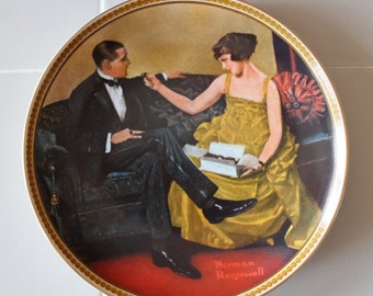 """1983 Norman Rockwell Collector Plate: """"Flirting in the Parlor"""""""