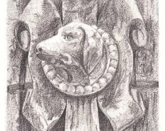 door pencil drawing vintage door dog on door pencil drawings reproduction print drawing door etsy