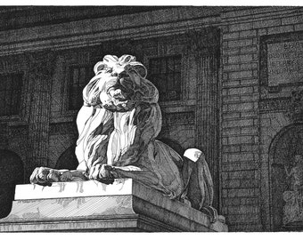 Pen and Ink Drawing NYC Public Library Lion Reproduction Note Cards Stationery