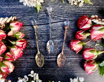 Witches Tea Spoons~Tea time, Altar tools, Witchcraft tools, witchcraft oil, witch oil, crystal spoon, crystal tea strainer, witch tea occult