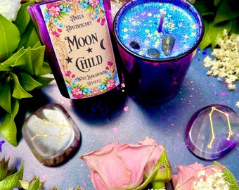 Moon Child Crystal Votives ~ Anita Apothecary, Moon Child Oil, Moon candle, Mercury Glass, Moon decor, Boho decor
