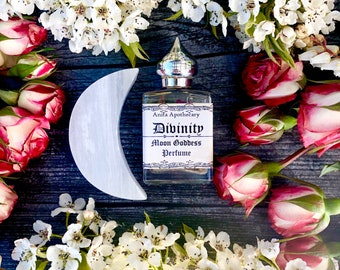 Divinity~Moon Goddess Perfume Oil~Moon Magick, Witchcraft, witch oil, altar oil, Moonstone oil, goddess oil, Apothercary, Rose oil, tarot