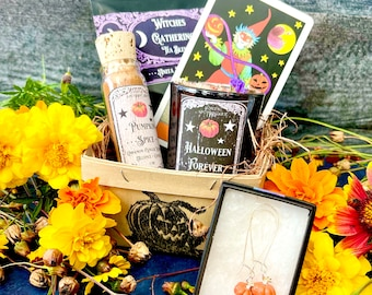 Halloween Forever Basket | Anita Apothecary, Halloween Candles, Halloween Gift Baskets, Halloween Gifts, Witch Gift, Halloween Queen, Witch