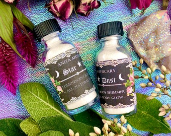 Star Dust Beauty Shimmer~Luminescent Body Glow~ Body Sparkle, Mica powder, Body glow shimmer sparkle witchcraft magick Wicca Rose Beauty