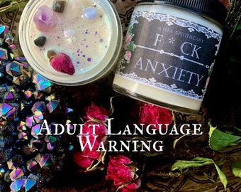 F*CK ANXIETY Candle ~ Anita Apothecary, anxiety candle, anxiety sucks, mental health gift, mental health candle, witch candle, spell candles