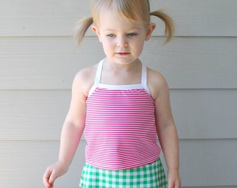DbCA Diamondback Cami & Crop PDF Pattern - kids' sports crop, tankini, camisole, sports bra, bikini top