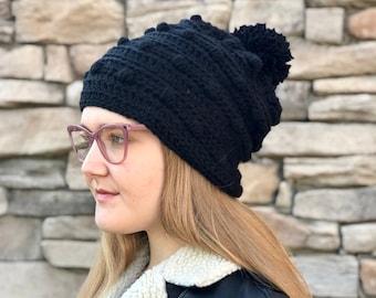 4cc0d46fb4f Hat CROCHET PATTERN - Snow Drifts Hat - Textured pom-pom hat - Winter Hat  pattern - 5 sizes