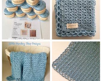 Baby Blanket Crochet Kit - Organic cotton - Crochet Kit - Baby Blue Baby Blanket Crochet PATTERN + 6 skeins of Organic Cotton Yarn