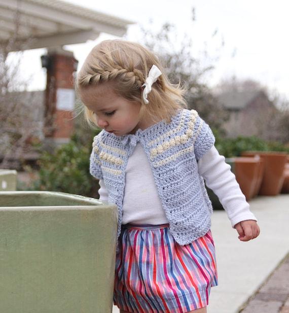 Girls Cardigan Crochet Pattern Easy Short Sleeve Or Long Etsy