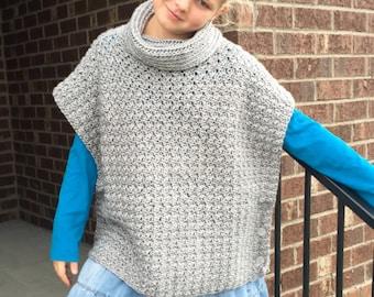 Crochet Poncho PATTERN - Cowl - Poncho Pattern - Sizes (2, 3/4, 6/8, 10/12, 14, S, M, L, XL) Girls, Women