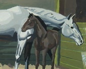 2 Paint By Number Horse painings framed