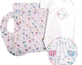Llama Baby Gift set - includes bib, bodysuit, burp cloth - available in size newborn - 24 months