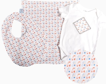 Roller Skate Baby Gift set - includes bib, bodysuit, burp cloth - available in size newborn - 24 months