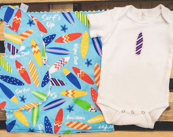 Surf's Up Blue Surfboard Baby Gift set - includes bib, bodysuit, burp cloth - available in size newborn - 24 months