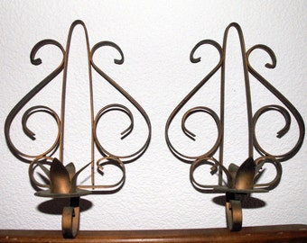 Metal Wall Candle Sconce SET Rustic Antique Vintage Shabby Primitive Chic Decor Set of 2 Wallhangings