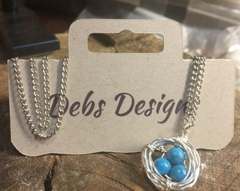 Necklaces Birds nest wire wrapped Necklace blue stones