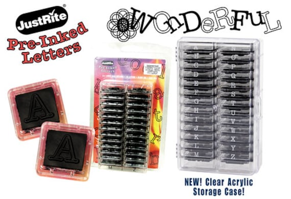 pre-inked alphabet stckable stampers with black ink