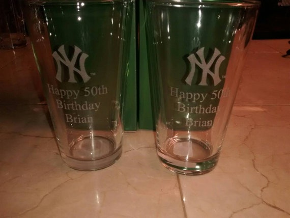 Personalized laser engraved pint glasses